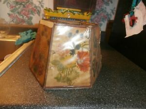 vintage octagon lampshade with flower panels
