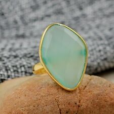 925 Sterling Silver Chalcedony Gemstone Gold Plated Wedding Gift Ring Size 6.75