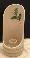 Lenox Holiday Sconce Candle Holder With Handle Holly Berry Pattern 24K Gold