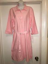 NEW Womens Shirt Dress Size Petite L Large Pink Lizsport Belted Collar