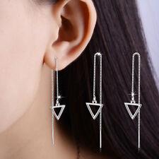 Line Elegant Women's Fashion Jewelry wholesale 925 Silver Earrings triangle Ear