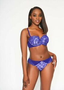 Ann Summers NEW SEXY LACE Balcony BRA + BRIEF SET, Blue/Lilac *NEW* RRP£23