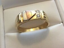 Good Gents Vintage Solid 14CT Gold ( Three Colour ) Diamond Signet Ring - V