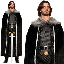 Game of Thrones Costume Mens Dark Barbarian Jon Snow Fancy Dress Cloak Outfit