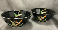 TWO Vintage Otagiri Japan Birds of Paradise Sorbet Bowls Black & Gold Dessert ~