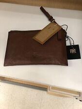 Frye Leather Cognac Wristlet Wallet Bag Clutch Brown Large
