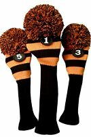 Tour 1 3 5 Driver Fairway Wood Custom Black Orange Golf Headcover Knit Pom Cover