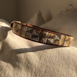 Medium To Large Breed Masai Beaded Collar. Leather Beaded Dog Collar