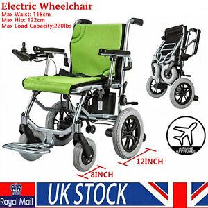 Electric Wheelchair Power Wheel Chair Lightweight Mobility Aid Folding UK Ship