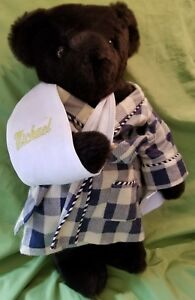 Vermont Teddy Bear 17'' Made In USA With Robe Hanky & Personalized Sling Michael