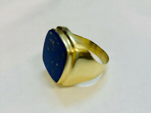 Ring, Gold 585, mit blauem Stein, 6,3g, Ringgröße 59 (49657)