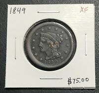 1849 U.S. BRAIDED HAIR LARGE CENT ~ XF CONDITION! $2.95 MAX SHIPPING! C2634