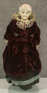 "Victorian Doll Wood Hands Feet Cloth Body Bisque Head Antique 8"""