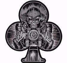 "Skeleton Speed Racer Motorcycle Rider Jacket Patch Large 10"""
