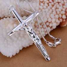 Fashion 925Sterling Solid Silver Jewelry Big Cross Chain Pendant Necklace P079