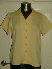 Cubavera Womens Size L (40) Yellow Short Sleeve Button Down Top 218-15136