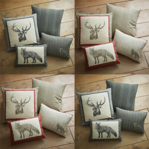 Dreams & Drapes Connolly Check Stag Print 100% Brushed Cotton Filled Cushion, 43