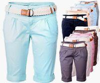 Fresh  Made Damen Shorts Kurze Hose Chino Sommer Shorts Bermuda Capri Short Lang