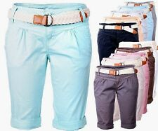 Fresh  Made Damen Shorts Kurze Hose Chino Sommer Shorts Bermuda Capri Short Lang