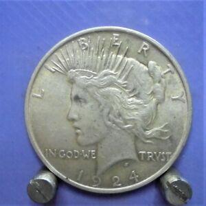 American peace dollar , 90% silver 1924 , 26 grams+ U.K. only.