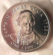 2003 COOK ISLANDS CENT - James Cook - AU/UNC - FREE SHIPPING - BARGAIN BIN #EC