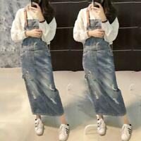 Womens Denim Rompers Overalls Dress Suspender Skirts Casual Long Jeans Skirts sz