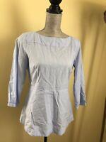 Ann Taylor Womans Blouse Blue Pinstripes Size S Petite Great Condition