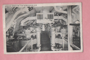 POSTCARD FROM  1940s ENGINE ROOM OF THE SUBMARINE S-49