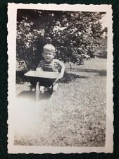 1950's B&W Photo Young Boy with old metal toy wheel-barrow