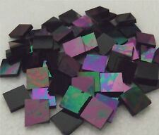 25 ct - 3/4 inch IRIDESCENT BLACK OPAL Spectrum Stained Glass Mosaic Tiles