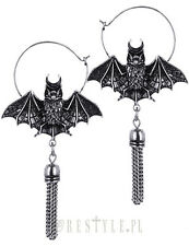 Restyle Oriental Bat Silver Hoop Earrings Occult Jewelry Wiccan Gothic Tassel