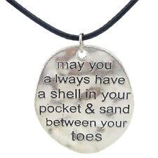 "19482 1pc Vintage Silver Oval Letter Freeform Pendant Necklace 17"" Leather Women"