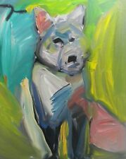 JOSE TRUJILLO ORIGINAL Oil Painting EXPRESSIONISM Wolf Fauvist Colorist SIGNED