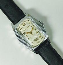 "Vintage 30s BULOVA President ""Wandering Seconds"" 10k White Gold RGP Men's Watch"