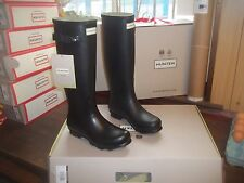 Negro Norris Hunter Wellingtons Wellies en Halifax Talla 5 Damas De Alto