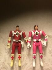 Mighty Morphin Power Rangers with Flip Heads Bandai 1993 Pink & Red Lot Of 2