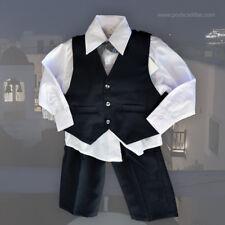4 pc Gift Set Boy Baby Baptism Christening Baby Shower Black White Tailored Suit