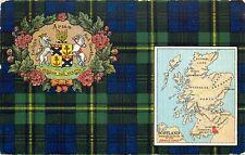 Johnston Postcard 206/2 Scottish Clan Johnston Tartan, Badge & Scotland Map