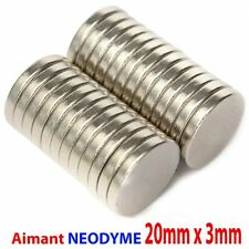 Lot Aimant Neodyme Neodium Disque Rond Fort Puissant Super Magnet N52 20mm X 3mm