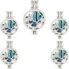 5PCS Silver Enamel Fish Starfish Clam Beads Cage Locket Pendant K1208