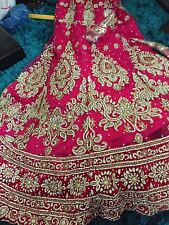 Dark Pink Bridal Lengha with matching jewellery set