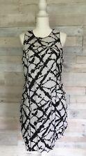 Cynthia Rowley 100% Linen Black White Printed Sheath Dress Women's 14 New