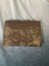 Tumi Alpha Slim Card Case Wallet RFID Green Black Camo Nylon Leather Trim
