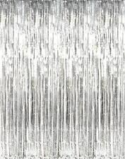 Silver Iridescent Metallic Foil Fringe Door Curtain Party Wedding 1m X 2m