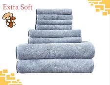 Gray Towel Set Quick Dry 100% Microfiber 8 pcs Extra Soft FREE SHIPPING