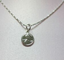 16 INCH 14KT WHITE GOLD EP 1mm SPARKLING TWISTED COBRA CHAIN w/ MINI PENNY CHARM