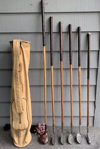 Hickory Player Wood Shaft Golf Club Set and Vintage Bag
