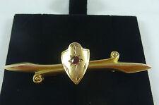 ANTIQUE EDWARDIAN  9CT K ROSE GOLD AUSTRALIAN ARONSON RED STONE SET BAR BROOCH
