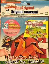 3-D Origami Farm Animal Paper Folding Craft Kit Instructions Patterns w/ Mat NIB