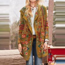 Women Winter Warm Long-Sleeve Cardigan Printed Open Front Hooded  Knitted Jacket